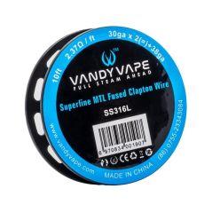 VandyVape SS316L Superfine MTL Fused Clapton Wire 30ga*2+38ga - 10ft - 2.37ohm/ft